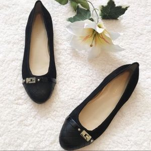 Marc Fisher Suede Black Flats Quilted Toe Buckle